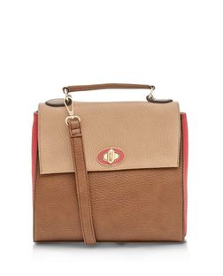 Brown  Colour Block Twist Lock Shoulder Bag  | New Look