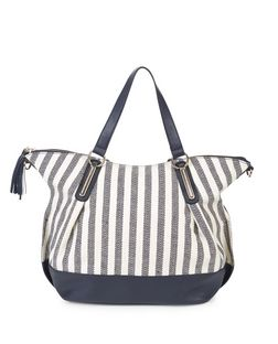 White Stripe Canvas Slouch Tote Bag  | New Look