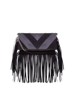Black Chevron Fringe Hem Fold Over Clutch  | New Look