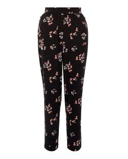 Black Floral Print Trousers | New Look