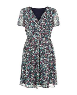 Pussycat Navy Floral Print Wrap Front Dress | New Look