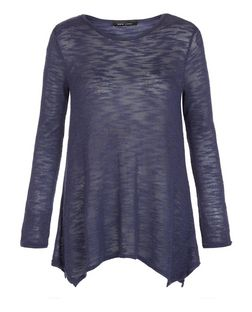 Navy Fine Knit Hanky Hem Long Sleeve Top | New Look