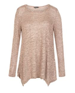 Coral Fine Knit Hanky Hem Long Sleeve Top  | New Look