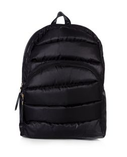 Black Padded Backpack  | New Look