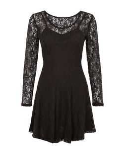 Pussycat Black Lace Cut Out Back Skater Dress | New Look