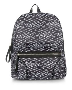 Black Zig Zag Print Backpack  | New Look