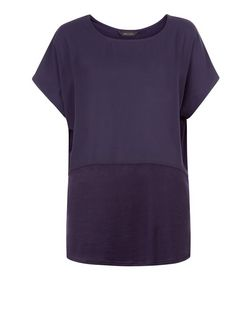 Navy Fine Knit Contrast Longline T-Shirt  | New Look