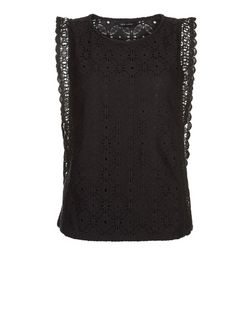 Black Lace Scallop Trim Top  | New Look