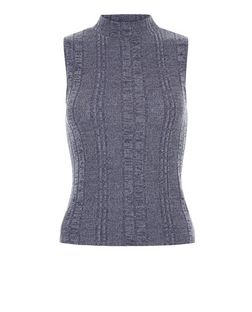 Navy Fine Knit Ribbed Funnel Neck Sleeveless Top  | New Look