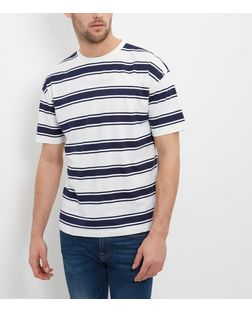 Cream and Blue Stripe T-Shirt  | New Look