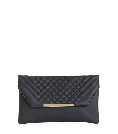 Black Quilted Metal Trim Clutch  | New Look