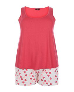 Plus Size Pink Heart Print Pyjama Set | New Look
