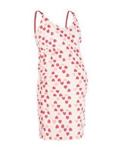 Maternity Pink Heart Print Nursing Chemise | New Look