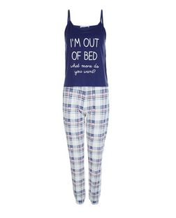 Teens Blue I'm Out of Bed Print Pyjama Set | New Look