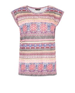 Blue Contrast Aztec Print T-Shirt  | New Look