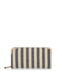 Blue Canvas Stripe Zip Around Purse  | New Look