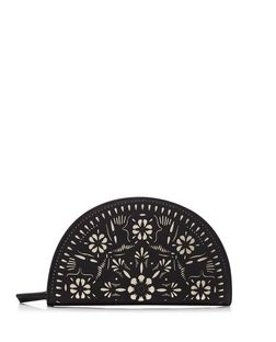 Black Laser Cut Out Curved Purse  | New Look