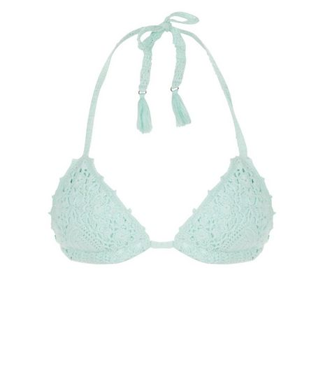 Mint Green Crochet Bikini Top | New Look