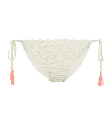 Cream Crochet Tassel Tie Side Bikini Bottoms | New Look