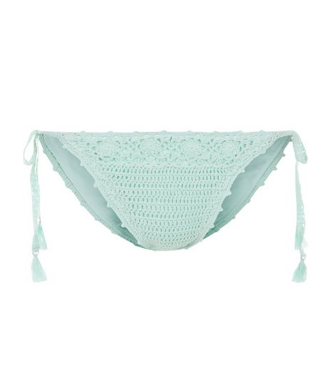 Mint Green Crochet Tie Side Bikini Bottoms  | New Look