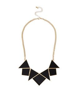 Black Leather-Look Triangle Necklace | New Look
