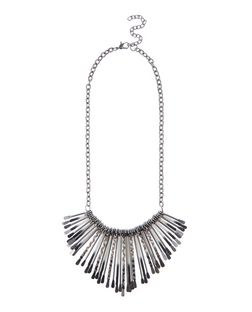 Black Thread Spike Necklace | New Look
