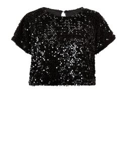 Cutie Black Velvet Sequin Co-Ord Top | New Look