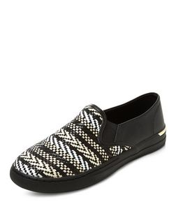Black Woven Aztec Slip On Plimsolls  | New Look