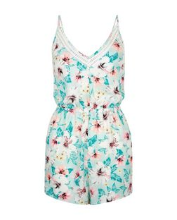 Blue Tropical Print Playsuit  | New Look