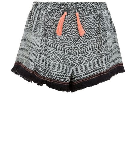 Black Aztec Print Fringed Shorts  | New Look