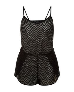 Black Zig Zag Crochet Playsuit  | New Look