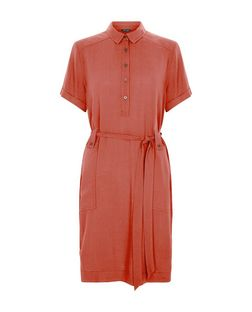 Coral Tie Waist Roll Sleeve Shirt Dress  | New Look