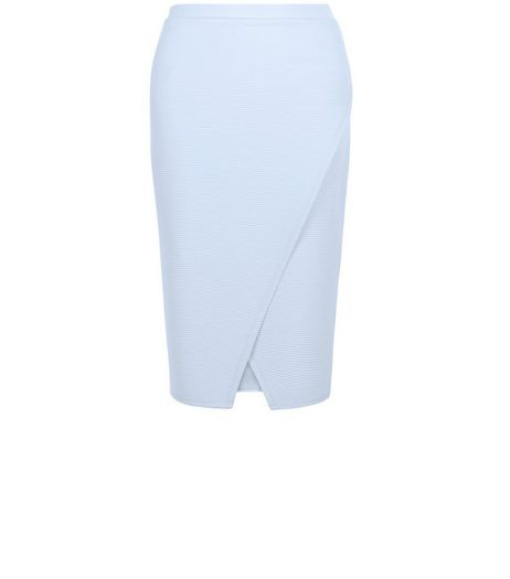 Pale Blue Ribbed Wrap Front Pencil Skirt | New Look