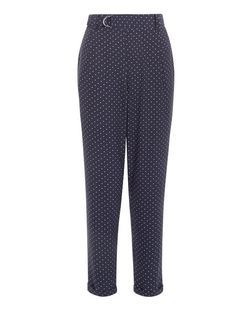 Blue Polka Dot Print D-Ring Belted Trousers  | New Look