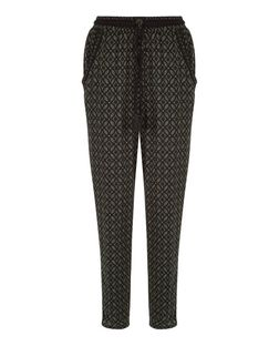 Green Geo Print Pom Pom Trim Trousers  | New Look