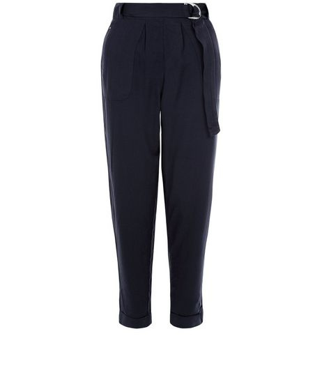 Navy D-Ring Belt Twill Trousers  | New Look