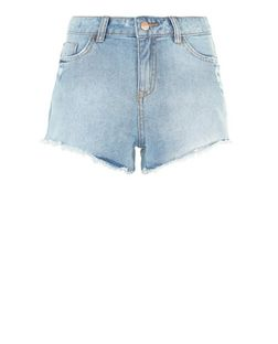 Pale Blue Frayed Hem Denim Shorts | New Look