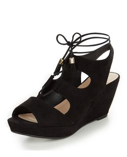 Teens Black Suedette Ghillie Wedges | New Look