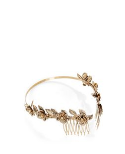 Gold Flower Embellished Headband | New Look