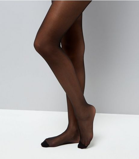 Black Sheer Glossy 15 Denier Tights | New Look