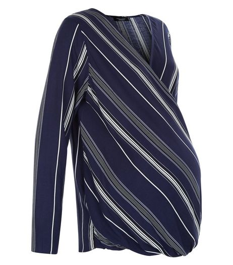 Maternity Blue Stripe Wrap Front Top | New Look