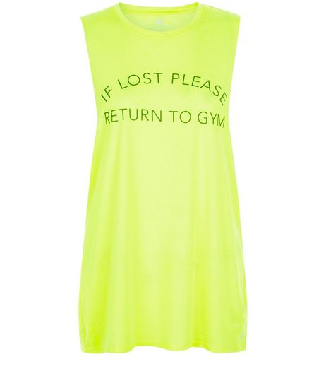 Lime If Lost Return To Gym Drop Arm Sports Tank Top  | New Look