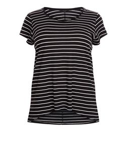 Plus Size Black Stripe Short Sleeve T-Shirt | New Look