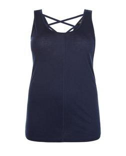 Plus Size Navy Cross Strap Back Vest | New Look