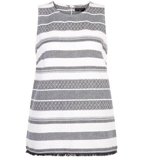 Tall White Stripe Jacquard Shell Top | New Look