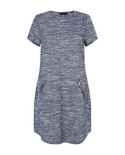 Tall Blue Space Dye Fine Knit Dress | New Look