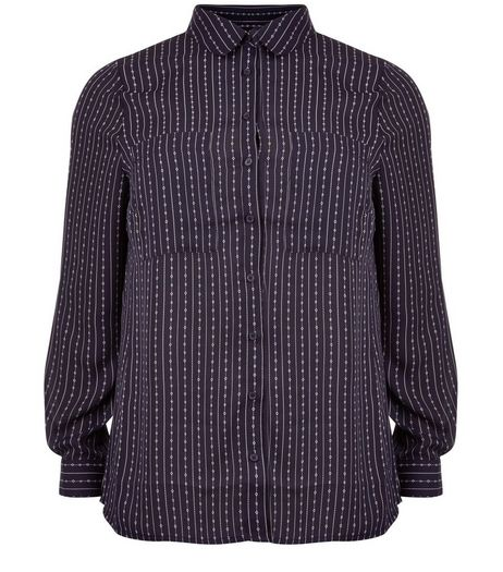 Curves Navy Stripe Double Pocket Long Sleeve Shirt  | New Look
