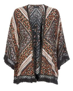 Black Floral Print Crochet Trim Kimono  | New Look