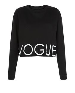 Black Vogue Raw Hem Cropped Sweater  | New Look