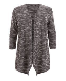 Plus Size Black Space Dye Waterfall Cardigan | New Look